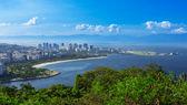 Vista da praia do flamengo e distrito e centro do rio de janeiro — Foto Stock