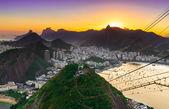 Sunset view of Corcovado and Botafogo in Rio de Janeiro — Stock Photo