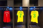 Uniforms of Dani Alves, Tiago Silva, Jefferson of Brazil national football team, Rio de Janeiro — Photo