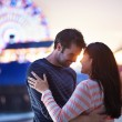 Romantic couple near santa monica pier — Stock Photo