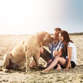 Couple playing with dog on the beach. — Stock Photo