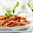 Spaghetti pasta with tomato beef sauce — Stock Photo