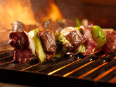 Beef shishkababs on the grill — Stock Photo