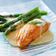 Salmon fillet with asparagus — Stock Photo