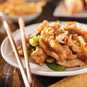 Chinese food - stir fry chicken with vegetables — Stock Photo
