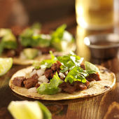 Mexican tacos with beef and corn tortilla — Photo