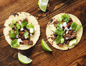 Overhead view of two authentic street tacos — Stock Photo