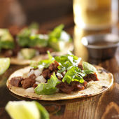 Authentic mexican tacos with beef — Stok fotoğraf