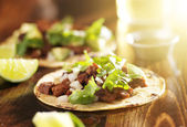 Mexican tacos with beef and corn tortilla — Stok fotoğraf