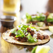 Mexican tacos with beef and corn tortilla — Foto Stock