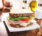 Deli meat sandwich with turkey, tomato, onion, and lettuce — Stock Photo