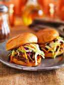 Two barbecue pulled pork slider sandwiches — Stock Photo
