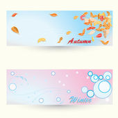 Seasons. autumn and winter. — Vector de stock