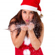 Pretty young brunette woman dressed as Santa — Stock Photo
