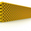 Stock Photo: Wall of gold bullion