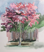 Pink tree illustration in sketch style — Stock Photo