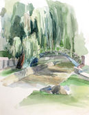 Willow and bridge sketch drawing — Stockfoto