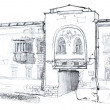 Sketch of the Old Town building — Stock Photo