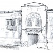 Sketch of the Old Town building — Stock Photo #34441645
