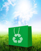Green recycle paper shopping bag — Stock Photo