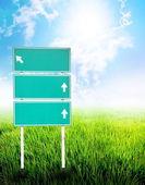 Green empty guidepost — Stock Photo
