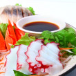Japanese Cuisine ,Crab-meat sticks with sauce  — Foto de Stock