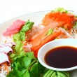 Japanese Cuisine ,Crab-meat sticks and salmon  — Stock Photo