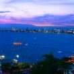 Night view panorama of Pattaya city — Stock Photo