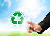 Men hand hold recycle sign — Stock Photo