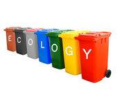 Colorful recycle bins with ecology wording concept — Stock Photo