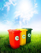 Eco wording on colorful recycle bins — Stock Photo