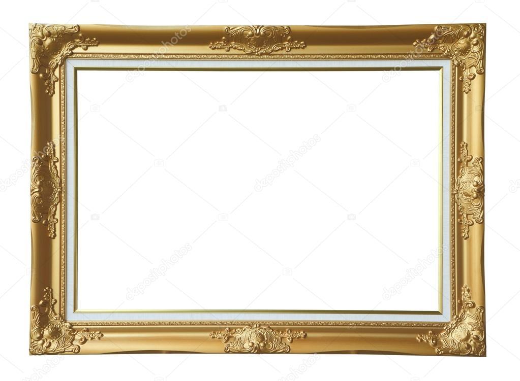 黄金复古相框在白色的背景