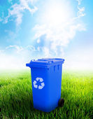 Blue Recycle Bin — Stock Photo