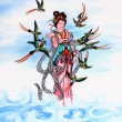 Tradition Chinese painting on wall — Stock Photo #33219131