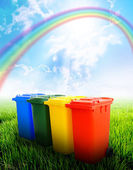Colorful recycle bins with landscape background — Stock Photo