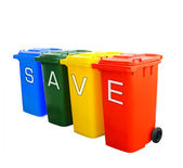 Save wording on colorful recycle bins — Stock Photo