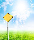 A yellow guidepost — Stock Photo