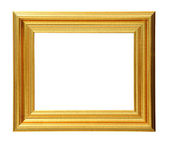 Golden photo frame clipping path. — Stock Photo