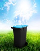 Black And Sky-Blue Recycle Bin — Stock Photo