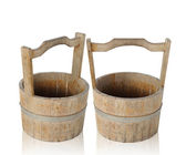 Old wooden bucket isolated — Zdjęcie stockowe