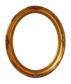 Gold vintage oval photo frame isolated, clipping path. — Stock Photo