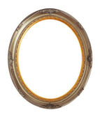 Oval bronze wooden frame isolated clipping path — Stock Photo