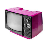 Colorful vintage analog television isolated with clipping path. — Stock Photo
