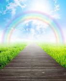 Bridge in summer landscape with rainbow — Stock Photo