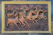 Low relief cement Thai style handcraft of horse  — Stock Photo