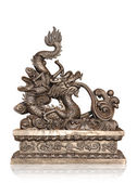 Bronze of chinese dragon isolated with clipping path. — Stock Photo