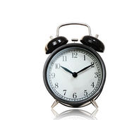 Black alarm clock isolated with cliping path.      — Foto Stock