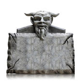 Stone sign board with devil head, copy space and clipping path. — Stock Photo