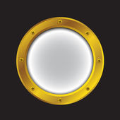 Porthole bright gold color — Stock Vector