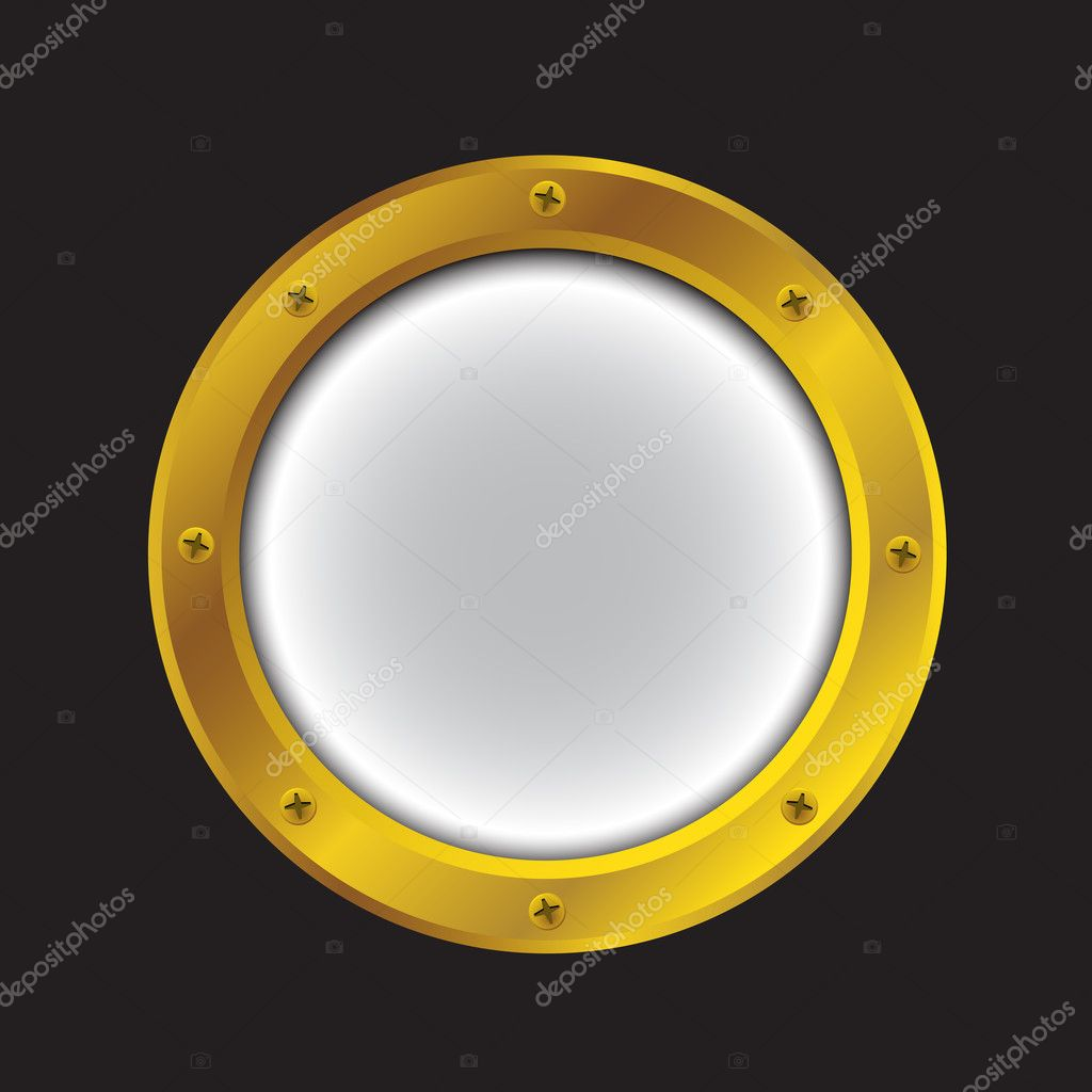 Vector illustration of a gold ship porthole isolated on black — Stock Vector #12446488